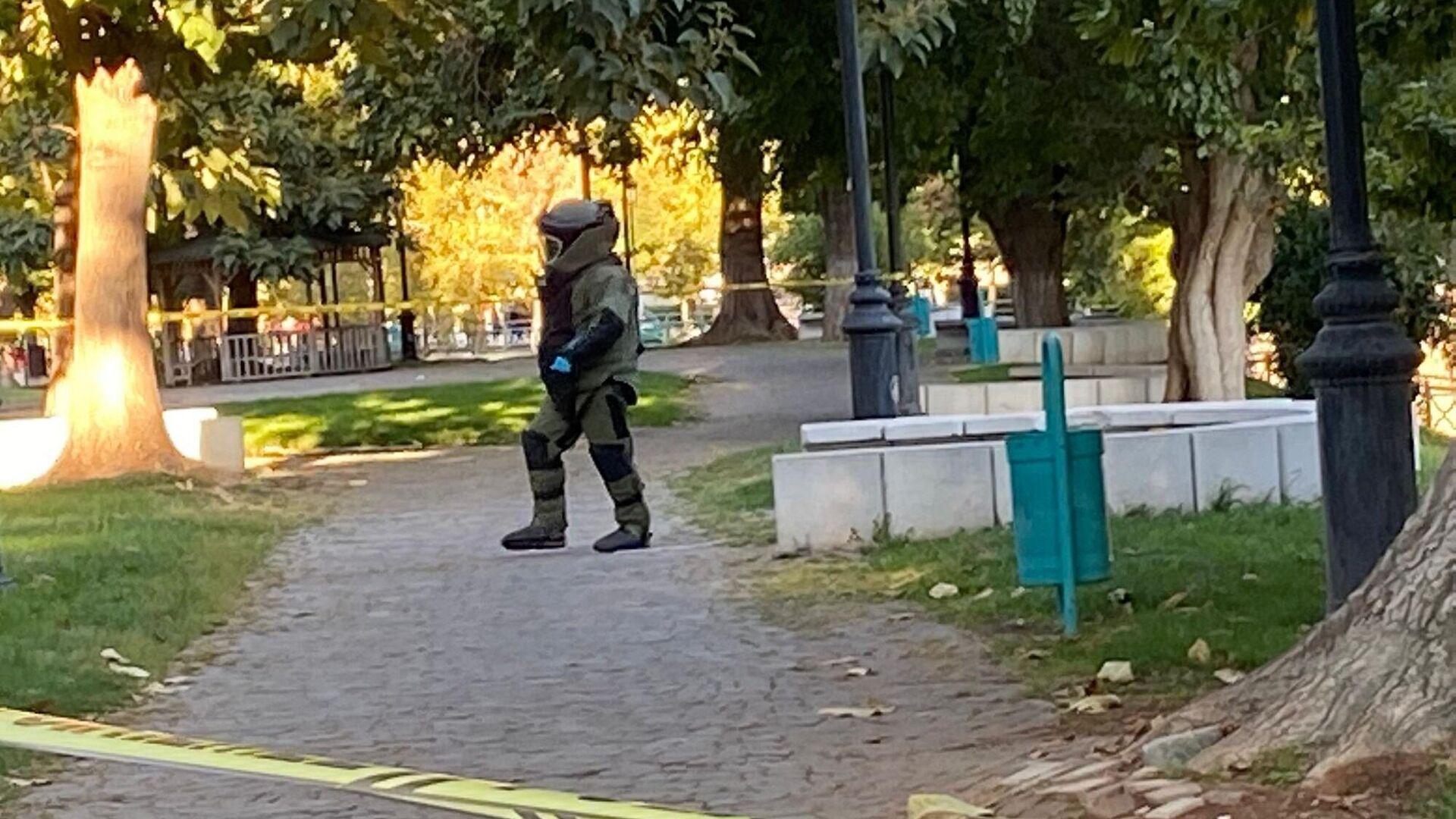 İçişleri Bakanlığı'ndan yapılan açıklamada Gaziantep'te Valilik binası arkasındaki parkta bulunan şüpheli paketin bomba imha ekiplerince patlatıldığı, paketin içinde el yapımı patlayıcı düzenek tespit edildiği belirtildi.   - Sputnik Türkiye, 1920, 18.09.2021