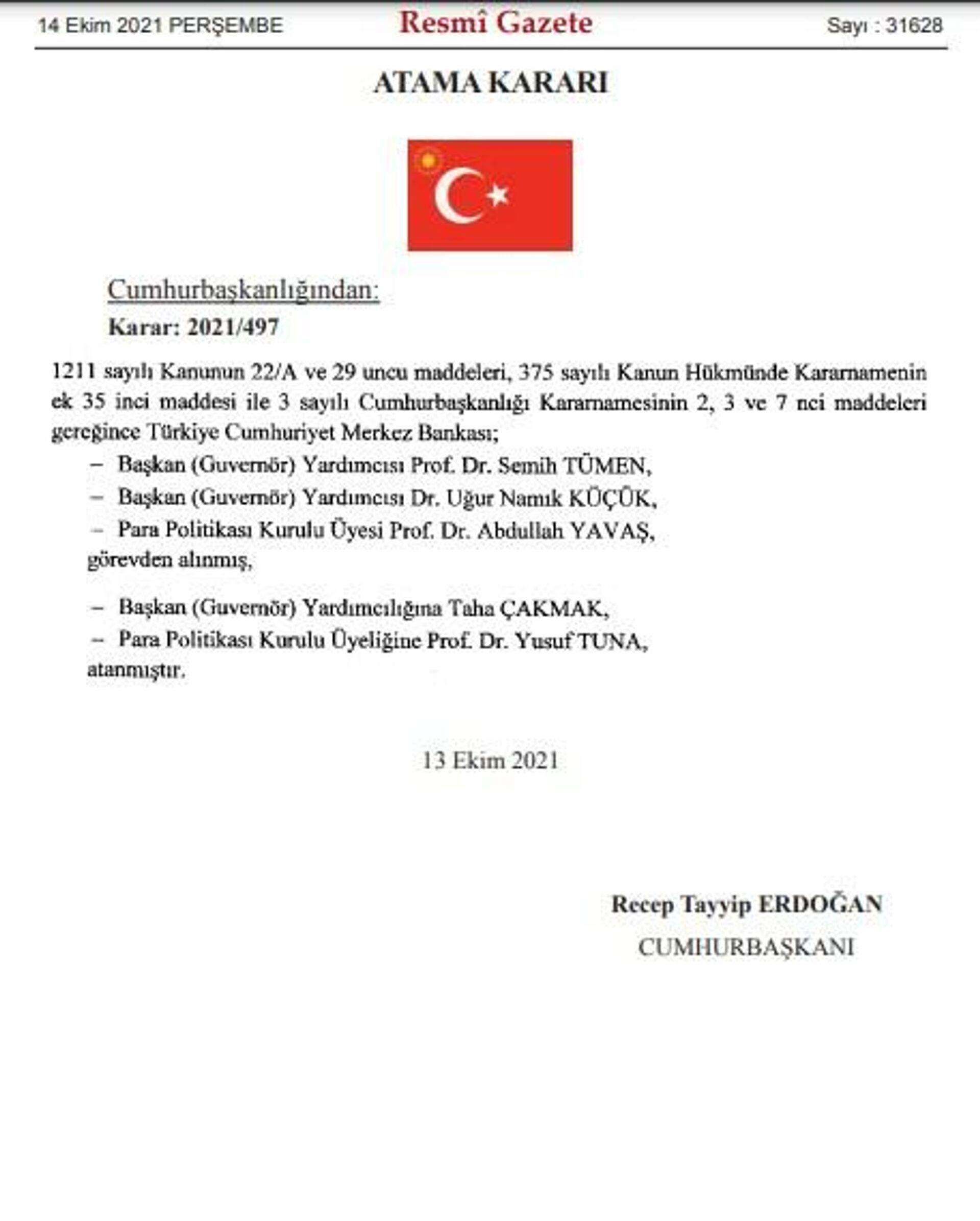 Merkez Bankası yönetiminde değişiklik - Sputnik Türkiye, 1920, 14.10.2021