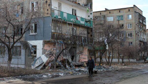 Debaltsevo'da yıkılmış evler - Sputnik Türkiye