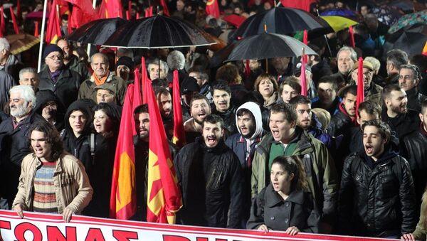 Yunanistan'ın başkenti Atina'da, Yunanistan Komünist Partisi (KKE) tarafından hükümet karşıtı bir gösteri düzenlendi. - Sputnik Türkiye