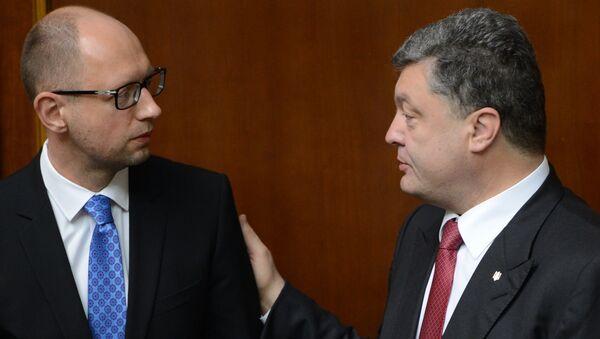 Ukrayna Devlet Başkanı Pyotr Poroşenko ve Başbakanı Arseniy Yatsenyuk. - Sputnik Türkiye