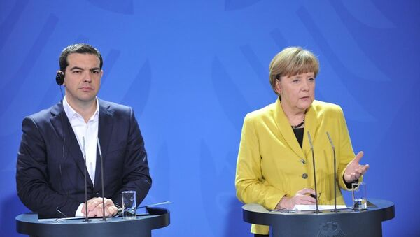 Almanya Başbakanı Angela Merkel - Yunanistan Başbakanı Aleksis Çipras - Sputnik Türkiye