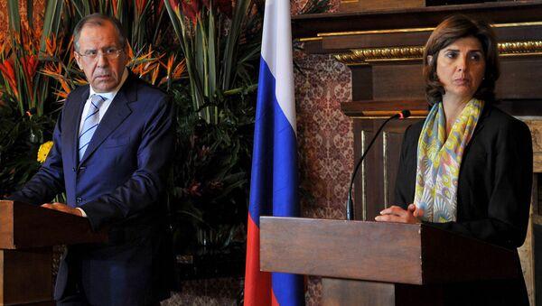 Rusya Dışişleri Bakanı Sergey Lavrov ve Kolombiya Dışişleri Bakanı  Angela Holguin - Sputnik Türkiye