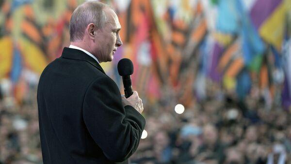 Vladimir Putin, Kırım'ın Rusya'ya katılışının yıldönümü kutlamalarında - Sputnik Türkiye