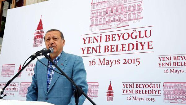 Cumhurbaşkanı Recep Tayyip Erdoğan, Şişhane'de düzenlenen Beyoğlu Belediyesi Hizmet Binası Açılış Törenine katılarak konuşma yaptı. - Sputnik Türkiye