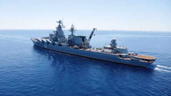 Akdeniz'de  Rusya-Çin ortak tatbikatına katılan Moskova isimli muhafız füze kruvazörü - Sputnik Türkiye