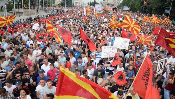 Makedonya'da hükümet karşıtı protesto - Sputnik Türkiye