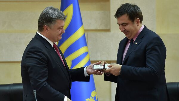 Ukrayna Devlet Başkanı Pyotr Poroşenko, eski Gürcistan Devlet Başkanı Mihail Saakaşvili - Sputnik Türkiye