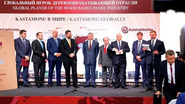 Lyudinovo özel ekonomik bölgesinde, Türk ahşap şirketi Kastamonu'na ait tesisin temel atma töreni. - Sputnik Türkiye
