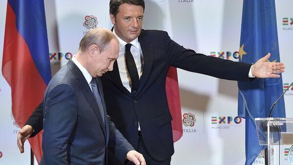 İtalya Başbakanı Matteo Renzi ve Rusya Devlet Başkanı Vladimir Putin - Sputnik Türkiye