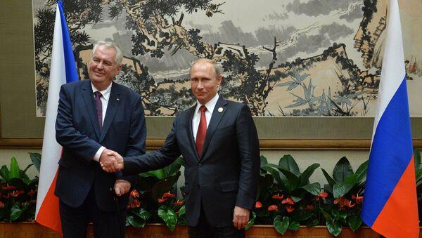 Çek Cumhuriyeti Cumhurbaşkanı Miloş Zeman ve  Rusya Devlet Başkanı Vladimir Putin - Sputnik Türkiye