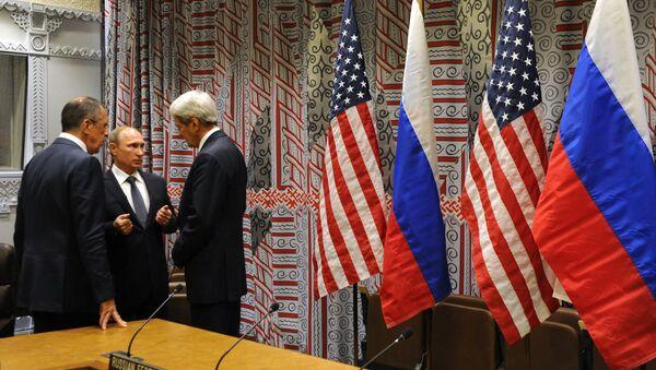 Rusya Devlet Başkanı Vladimir Putin- Rusya Dışişleri Bakanı Sergey Lavrov- ABD Dışişleri Bakanı John Kerry - Sputnik Türkiye