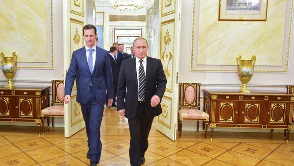 Rusya Devlet Başkanı Vladimir Putin - Suriye Devlet Başkanı Beşar Esad - Sputnik Türkiye
