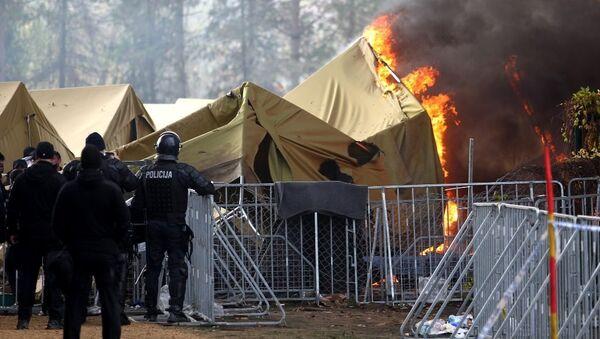 Slovenya sığınmacı çadır yangını - Sputnik Türkiye