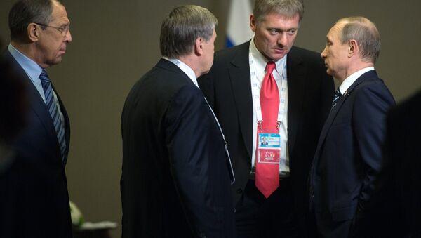 Vladimir Putin, Dmitriy Peskov, Yuriy Uşakov, Sergey Lavrov  - Sputnik Türkiye