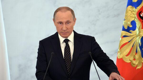 Rusya Devlet Başkanı Vladimir Putin Federal Meclis'e hitap ediyor. - Sputnik Türkiye