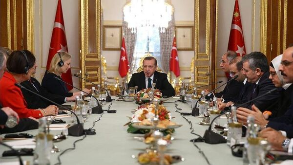 Cumhurbaşkanı Erdoğan ABD Senato Heyetini kabul etti - Sputnik Türkiye