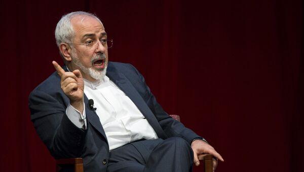 Iranian Foreign Minister Mohammad Javad Zarif speaks at the New York University (NYU) Center on International Cooperation in New York - Sputnik Türkiye