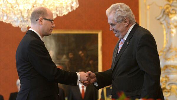 Çek Cumhuriyeti Başbakanı Bohuslav Sobotka - Çek Cumhuriyeti Cumhurbaşkanı Milos Zeman - Sputnik Türkiye