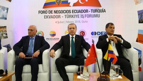 Türkiye Cumhurbaşkanı Recep Tayyip Erdoğan- Ekvador Devlet Başkanı Rafael Correa - Sputnik Türkiye