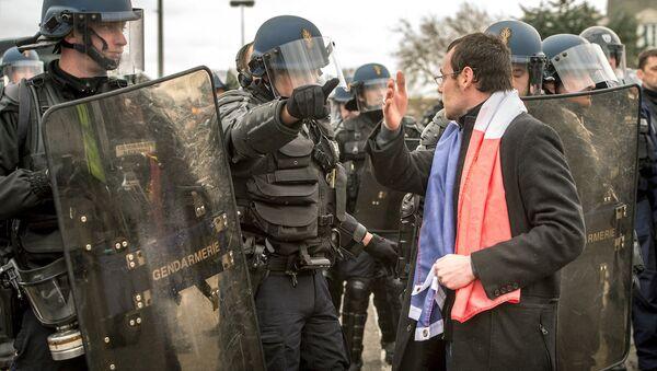 Calais'teki PEGIDA eyleminden - Sputnik Türkiye