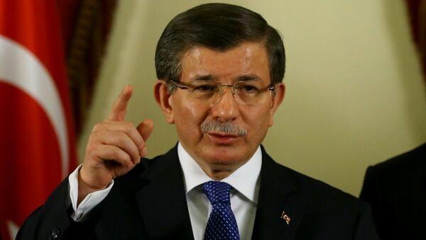 Başbakan Ahmet Davutoğlu, Ankara Valiliği'nde aldığı brifing sonrası basın mensuplarına açıklamalarda bulundu. - Sputnik Türkiye