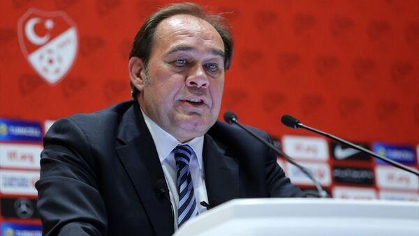 Türkiye Futbol Federasyonu Başkanı Yıldırım Demirören, TFF'nin Riva'daki merkezinde basın toplantısı düzenledi. - Sputnik Türkiye