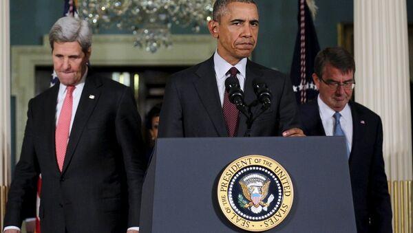 ABD Dışişleri Bakanı John Kerry- ABD Başkanı Barack Obama- ABD Savunma Bakanı Ashton Carter - Sputnik Türkiye