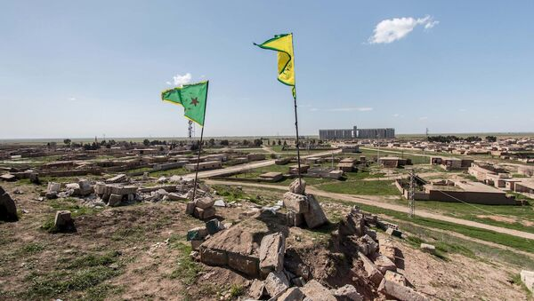 Haseke yakınlarındaki YPG bayrakları - Sputnik Türkiye