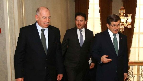 Başbakan Ahmet Davutoğlu ve  Irak Cumhurbaşkanı Yardımcısı Usame Nuceyfi - Sputnik Türkiye