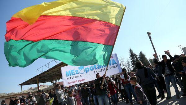 Kamışlı'daki kutlamalarda PYD bayrağı - Sputnik Türkiye