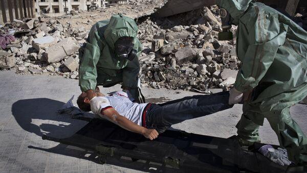 Halep'te düzenlenen bir kimyasal saldırı tatbikatı. - Sputnik Türkiye