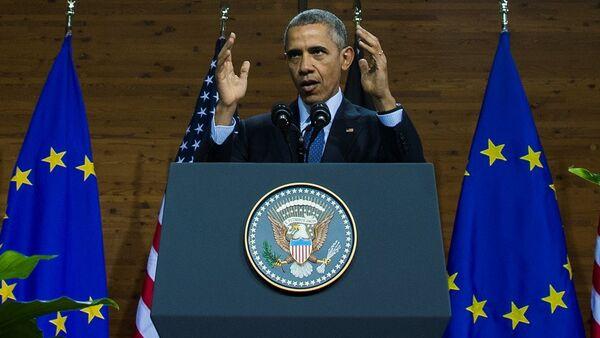 ABD Başkanı Barack Obama,  Almanya'nın Hanover kentinde düzenlenen bir ticaret festivalinde konuştu. - Sputnik Türkiye