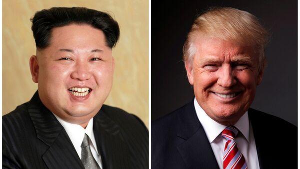 Kuzey Kore lideri Kim Jong-un- ABD başkan aday adayı Donald Trump - Sputnik Türkiye