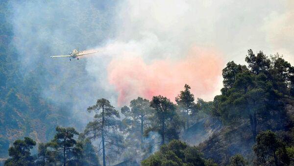 Kıbrıs 'taki Trodos dağı eteklerinde çıkan ve rüzgarın etkisiyle hızla yayılan orman yangını nedeniyle 4 köy boşaltıldı, 2 itfaiyeci hayatını kaybetti. - Sputnik Türkiye