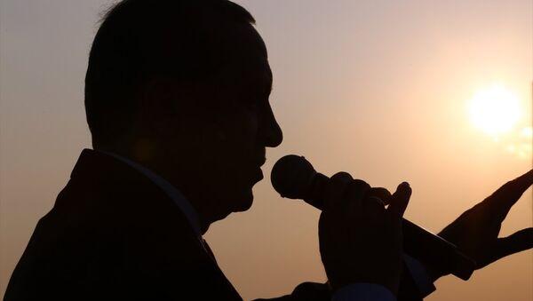 Cumhurbaşkanı Recep Tayyip Erdoğan, Gebze-Orhangazi-İzmir Otoyolu Projesi'nin en büyük ayağını oluşturan Osmangazi Köprüsü'nün Dilovası kesiminde düzenlenen açılış törenine katılarak konuşma yaptı. - Sputnik Türkiye