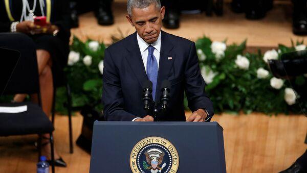 ABD Başkanı Barack Obama, Dallas'ta hayatını kaybeden polis memurları için düzenlenen törene katıldı. - Sputnik Türkiye