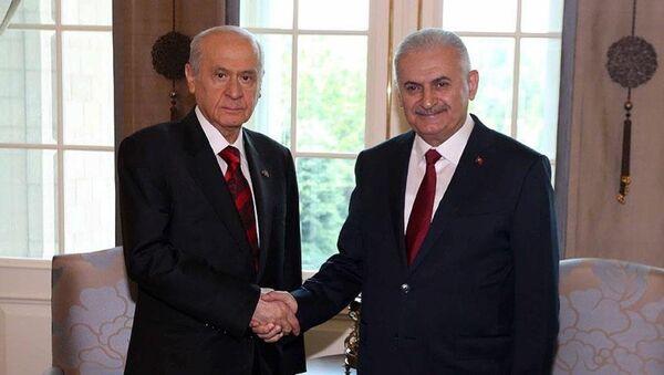 Başbakan Yıldırım ile MHP Genel Başkanı Bahçeli, darbe girişimine ilişkin Çankaya Köşkü'nde bir araya geldi. - Sputnik Türkiye