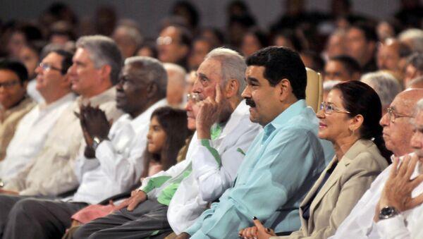 Castro, kendisi için düzenlenen etkinliği Venezüella Devlet Başkanı Nicolas Maduro ile birlikte izledi. - Sputnik Türkiye