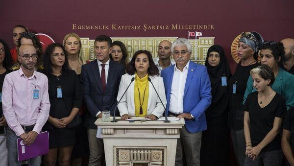 CHP İstanbul Milletvekili Selina Doğan, TBMM'de, LGBTİ bireyleriyle birlikte basın toplantısı düzenledi. - Sputnik Türkiye
