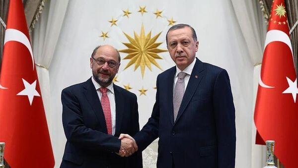 Cumhurbaşkanı Recep Tayyip Erdoğan, Avrupa Parlamentosu Başkanı Martin Schulz'u kabul etti. - Sputnik Türkiye
