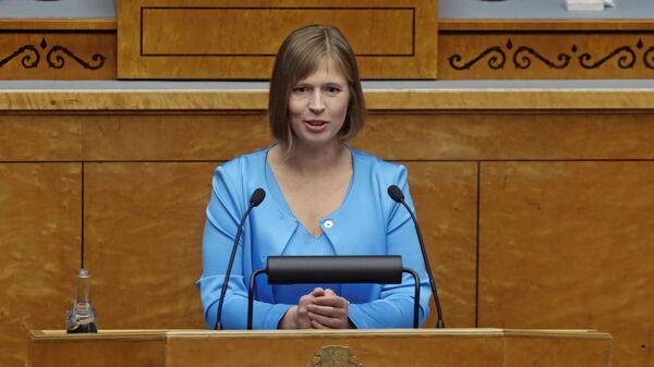 Estonya'da Kersti Kaljulaid ülkenin ilk kadın cumhurbaşkanı oldu. - Sputnik Türkiye