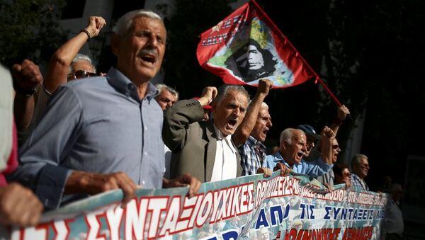 Yunanistan emekli protesto - Sputnik Türkiye