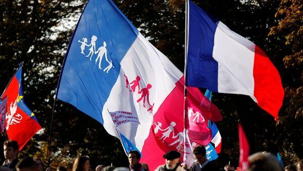 Fransa'nın başkenti Paris'te 10 binlerce kişi, eşcinsellerin evliliğine imkân tanıyan yasayı protesto etti. - Sputnik Türkiye