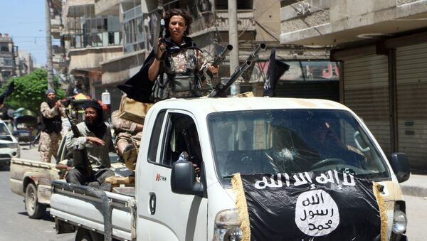 Fighters from Al-Qaeda's Syrian affiliate Al-Nusra Front drive in armed vehicles in the northern Syrian city of Aleppo as they head to a frontline. (File) - Sputnik Türkiye
