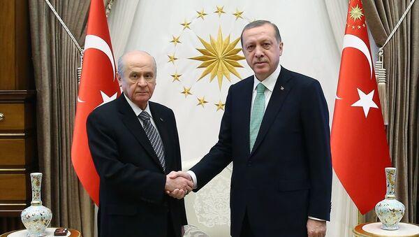 Cumhurbaşkanı Recep Tayyip Erdoğan, Cumhurbaşkanlığı Külliyesi'nde MHP Genel Başkanı Devlet Bahçeli'yi kabul etti. - Sputnik Türkiye
