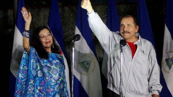 Nikaragua Devlet Başkanı Daniel Ortega ve eşi Rosario Murillo - Sputnik Türkiye