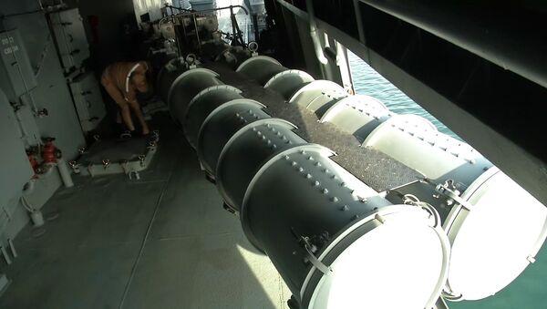 Admiral Grogoryeviç koruma gemisindeki torpido tüpü. - Sputnik Türkiye