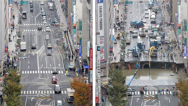 Japonya'nın Fukuoka kentindeki yolda oluşan çukur sadece 7 günde kapatıldı. - Sputnik Türkiye