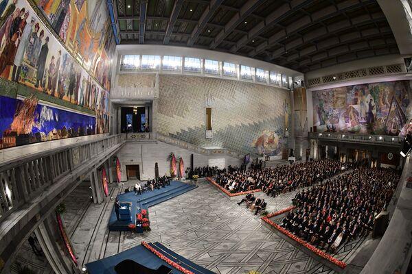 Oslo'da düzenlenen Nobel Barış Ödülü töreninde, ödülün sahibi Kolombiya Devlet Başkanı Juan Manuel Santos oldu. - Sputnik Türkiye